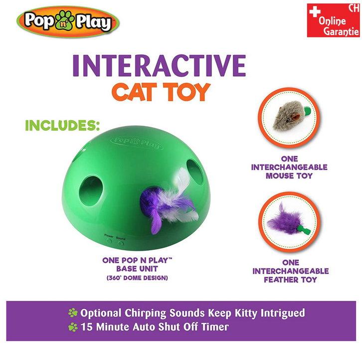 Interaktives Katzenspielzeug Pop N' Play Katzen Spielzeug Katz Maus und Federspielzeug bekannt aus der TV Werbung Indoor Zuhause Deheimu Haushalt 2