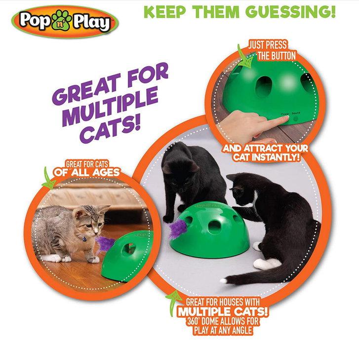 Interaktives Katzenspielzeug Pop N' Play Katzen Spielzeug Katz Maus und Federspielzeug bekannt aus der TV Werbung Indoor Zuhause Deheimu Haushalt 4