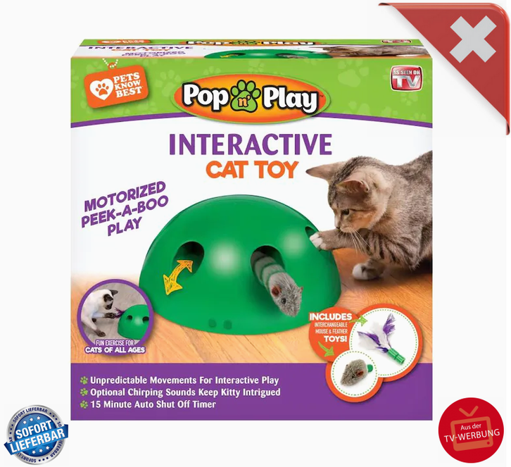 Interaktives Katzenspielzeug Pop N' Play Katzen Spielzeug Katz Maus und Federspielzeug bekannt aus der TV Werbung Indoor Zuhause Deheimu Haushalt