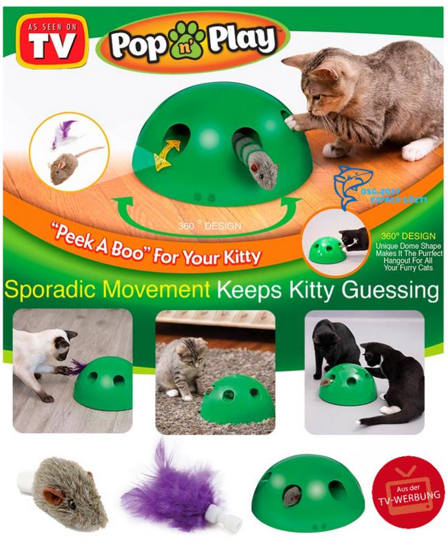Interaktives Katzenspielzeug Pop N' Play Katzen Spielzeug Katz Maus und Federspielzeug bekannt aus der TV Werbung Indoor Zuhause Deheimu Haushalt 3