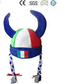 Italien Italy Fan Cap Perücke Wikinger Hörner Teufel Kappe Mütze Haare Flagge Fussball WM EM Support