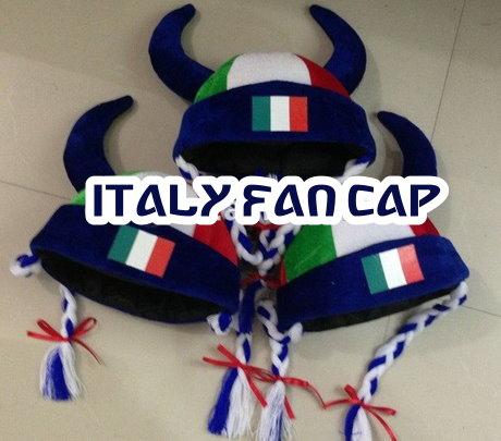 Italien Italy Fan Cap Perücke Wikinger Hörner Teufel Kappe Mütze Haare Flagge Fussball WM EM Support  Kleidung & Accessoires 2