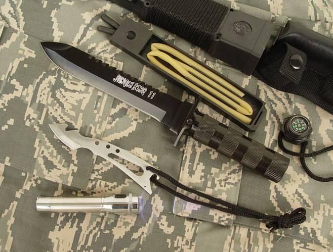 Jungle King 2 Überlebensmesser Survival Messer Jagdmesser Outdoor Lampe Schleudervorrichtung Kompass Sport & Outdoor