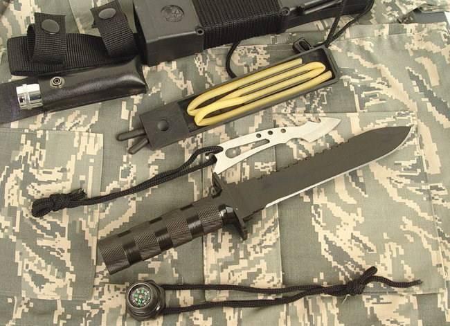 Jungle King 2 Überlebensmesser Survival Messer Jagdmesser Outdoor Lampe Schleudervorrichtung Kompass Sport & Outdoor 2