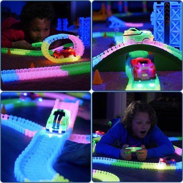 Magic Tracks RC Racer Mega Set inkl. 2 Autos Rennbahn leuchtet Auto Spielzeug Kind Indoor Zuhause Deheimu Baby & Kind 4
