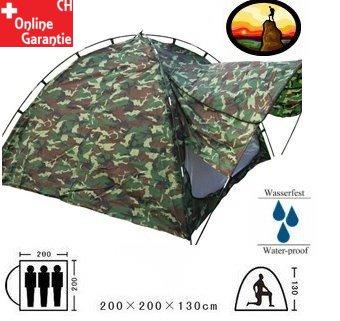 Militär Outdoor Camping Zelt 3 Personen Openair Angler Jäger Vorzelt Sport & Outdoor