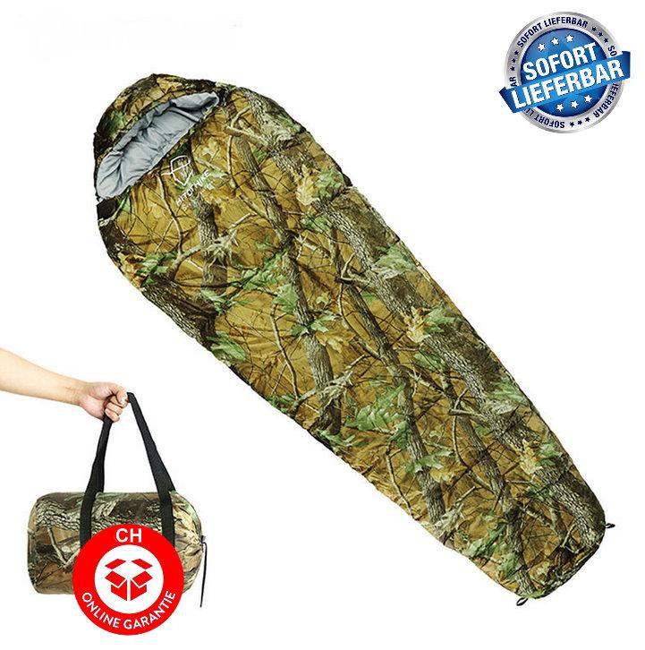 Militär Schlafsack Camouflage Mumienschlafsack Schlack Sack Matte Camping Outdoor Festival Konzert Wald Berge getarnt ca. 220 * 80cm Sport & Outdoor