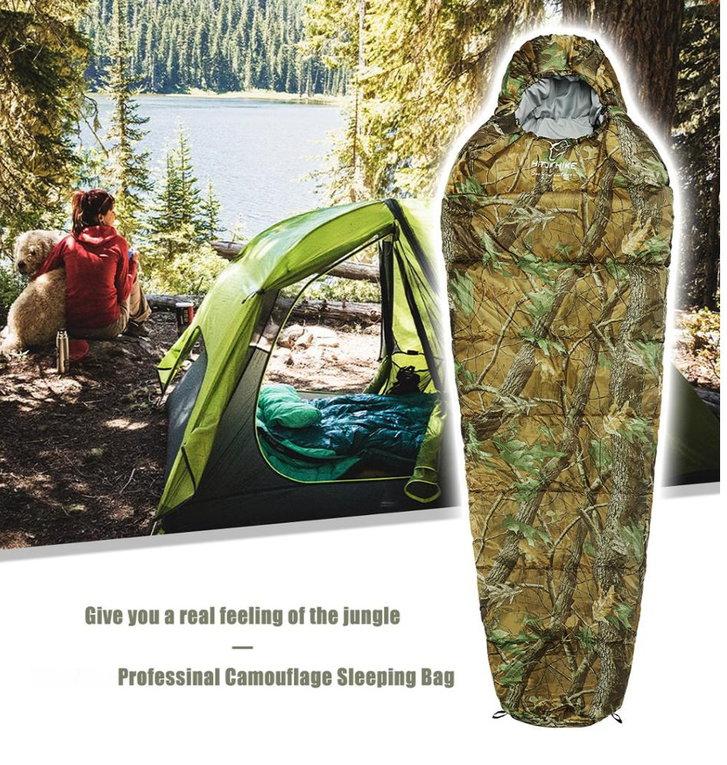 Militär Schlafsack Camouflage Mumienschlafsack Schlack Sack Matte Camping Outdoor Festival Konzert Wald Berge getarnt ca. 220 * 80cm Sport & Outdoor 2