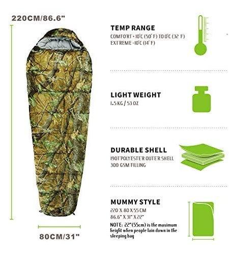 Militär Schlafsack Camouflage Mumienschlafsack Schlack Sack Matte Camping Outdoor Festival Konzert Wald Berge getarnt ca. 220 * 80cm Sport & Outdoor 3