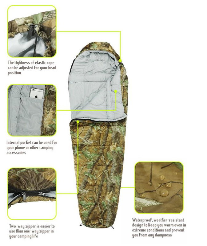 Militär Schlafsack Camouflage Mumienschlafsack Schlack Sack Matte Camping Outdoor Festival Konzert Wald Berge getarnt ca. 220 * 80cm Sport & Outdoor 4