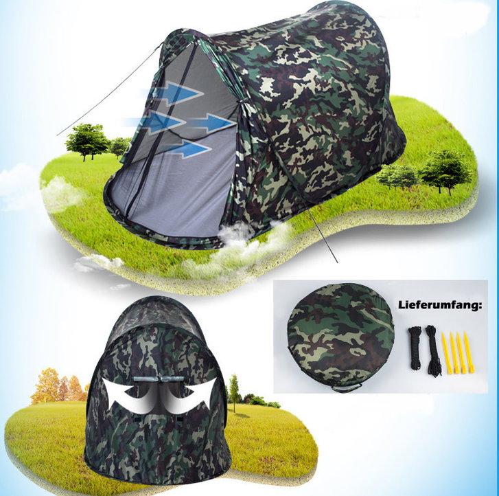 Militär Zelt Tarnung Pop-up Zelt Wurfzelt Camouflage Campingzelt 2 Personen Tarnzelt kleines Packmass Sport & Outdoor 3