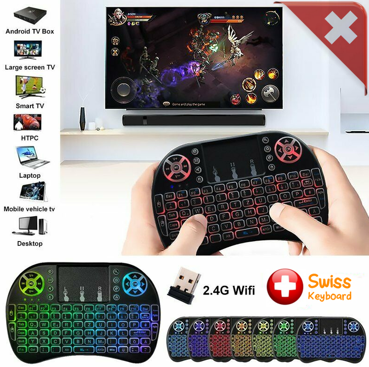 Mini Funk Tastatur Schweiz QWERTZ Keyboard Wireless 2.4 GHZ TV Smartphone Android iOS Hintergrundbeleuchtung Wireless TV & Audio