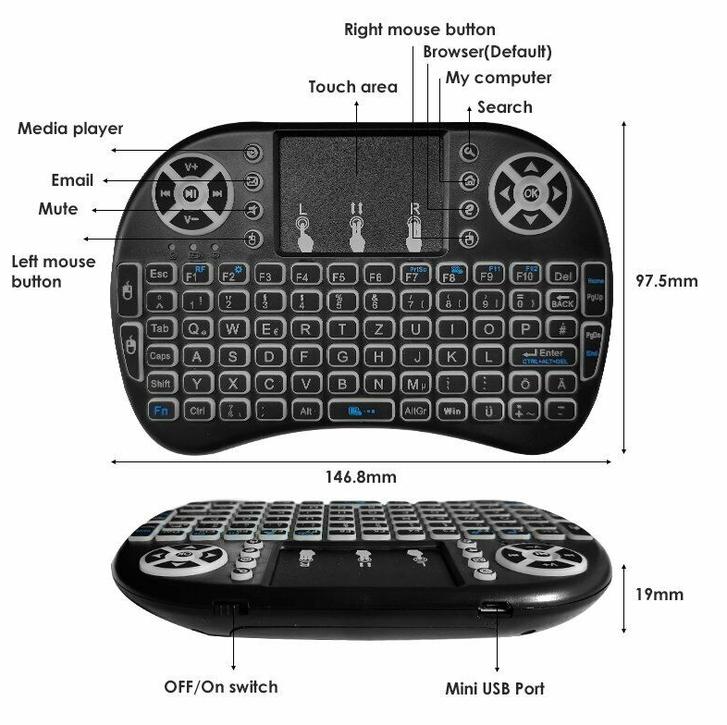 Mini Funk Tastatur Schweiz QWERTZ Keyboard Wireless 2.4 GHZ TV Smartphone Android iOS Hintergrundbeleuchtung Wireless TV & Audio 2