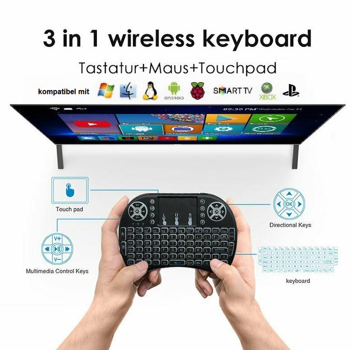 Mini Funk Tastatur Schweiz QWERTZ Keyboard Wireless 2.4 GHZ TV Smartphone Android iOS Hintergrundbeleuchtung Wireless TV & Audio 3
