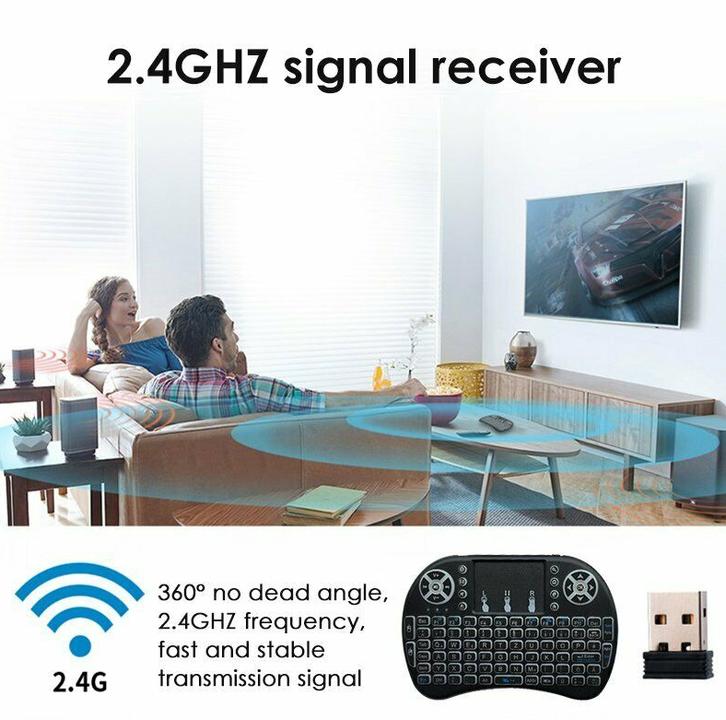 Mini Funk Tastatur Schweiz QWERTZ Keyboard Wireless 2.4 GHZ TV Smartphone Android iOS Hintergrundbeleuchtung Wireless TV & Audio 4