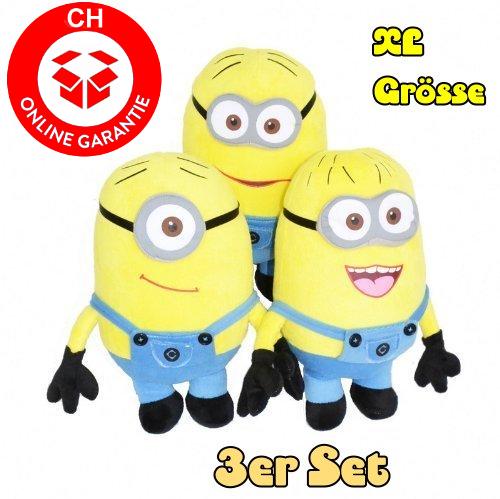 Minions 50cm 3er Minion Set Geschenk XL Fan Kind Kinder Zuhause Kult Gelb Spielzeuge & Basteln