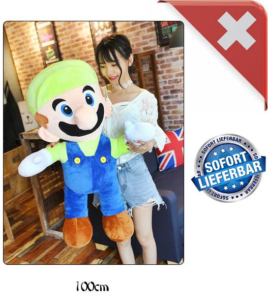 Nintendo Luigi Jumbo Plüsch 100cm XXL Plüschtier Plüschfigur Super Mario Bros. Video Spiel Kult Klempner Spielzeug Plüsch Baby & Kind