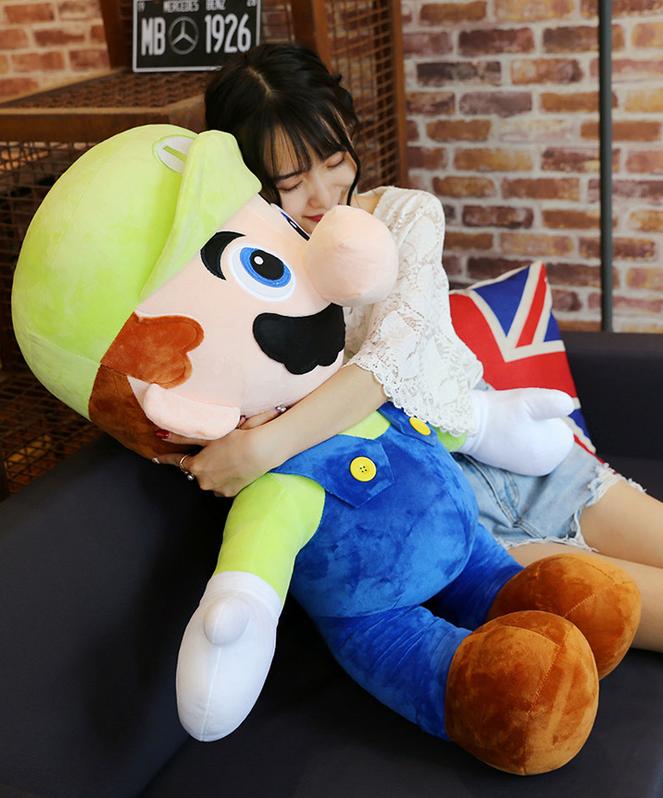 Nintendo Luigi Jumbo Plüsch 100cm XXL Plüschtier Plüschfigur Super Mario Bros. Video Spiel Kult Klempner Spielzeug Plüsch Baby & Kind 2