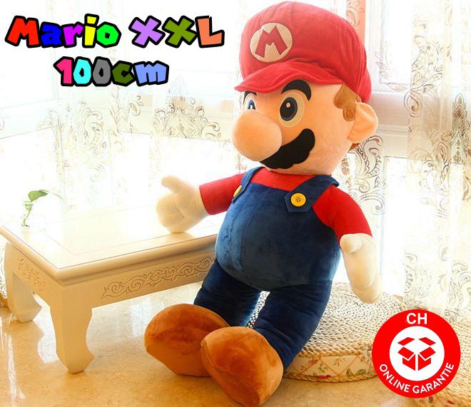 Nintendo Mario Jumbo Plüsch 100cm XXL Plüschtier Plüschfigur Super Mario Bros. Video Spiel Kult Klempner Rot Spielzeug Plüsch Sammeln