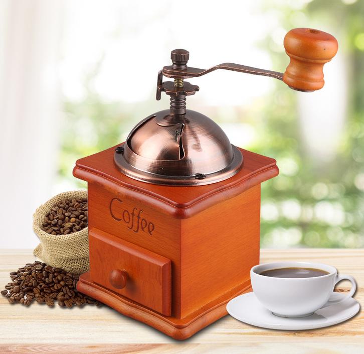 Nostalgie Handkaffeemühle Kaffeemühle Kaffe Mühle Holz Retro Hand Coffee Deko Haushalt Romantik Romantiker Haushalt