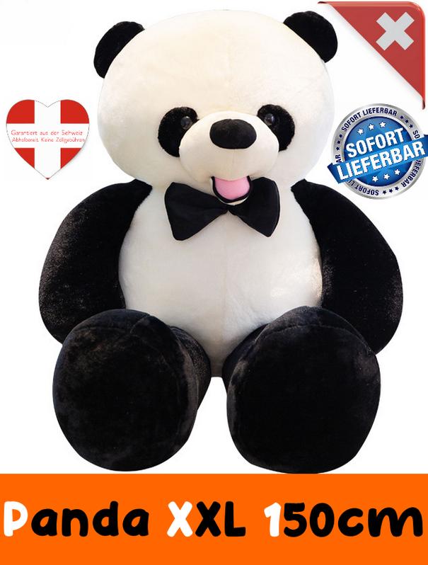 Panda Bär Pandabär Plüsch XXL Schwarz Weiss Fliege Geschenk Kind Kinder Frau Freundin XXL Plüschtier Kuscheltier ca. 150cm Spielzeuge & Basteln