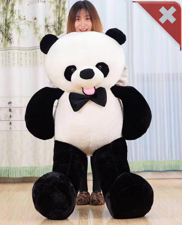 Panda Bär Pandabär Plüsch XXL Schwarz Weiss Fliege Geschenk Kind Kinder Frau Freundin XXL Plüschtier Kuscheltier ca. 150cm Spielzeuge & Basteln 2
