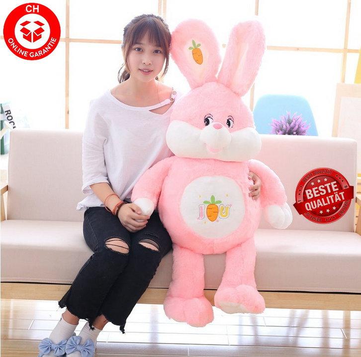 Plüschtier Hase Plüsch Kaninchen Stofftier Plüschhase Spielzeug 150cm 1.5m XXL Kuscheltier Plüschtiere Geschenk Kinder Kind Pink Rosa Rüebli ILY Baby & Kind