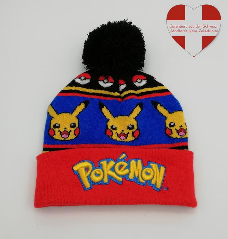 Pokemon Pokémon Pikachu Winter Kleidung Mütze Beanie Kappe Kind Kinder Fan Fanartikel Kleidung & Accessoires