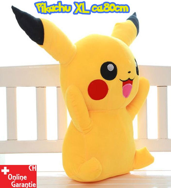 Pokémon Pikachu Plüschfigur Kuscheltier XL 80cm Fan Kind NeuFan TV Videospiel Game Kino