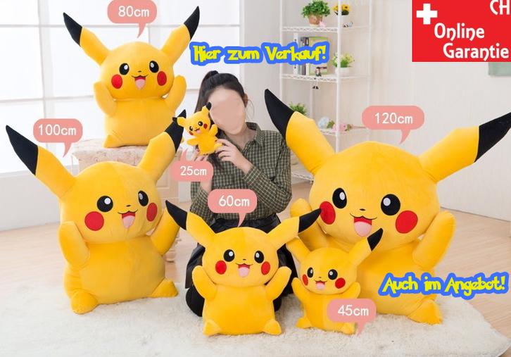 Pokémon Pikachu Plüschfigur Kuscheltier XL 80cm Fan Kind NeuFan TV Videospiel Game Kino Sammeln 2