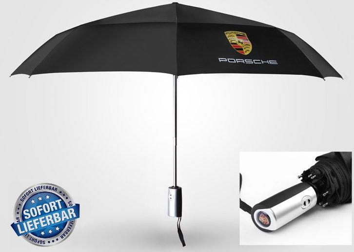 Porsche Auto Fan Regenschirm Taschenschirm Schwarz Wasserfest Kleidung & Accessoires