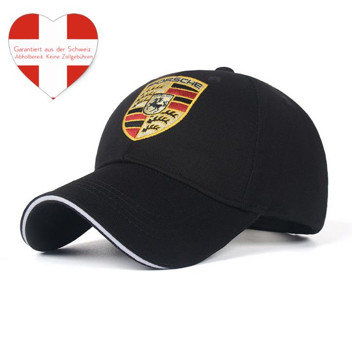 Porsche Cap Kappe Mütze Baseball Baseballcap Fan Schwarz oder Rot Logo Kleidung & Accessoires