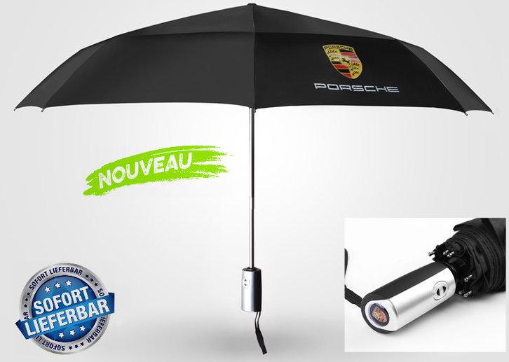Porsche Regenschirm Taschenschirm Fan Accessoire Schwarz Liebhaber Geschenk Wappen Fahrzeuge