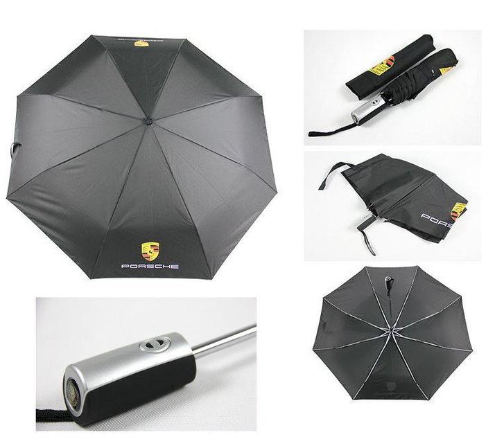 Porsche Regenschirm Taschenschirm Fan Accessoire Schwarz Liebhaber Geschenk Wappen Fahrzeuge 2