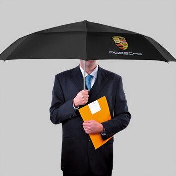 Porsche Regenschirm Taschenschirm Fan Accessoire Schwarz Liebhaber Geschenk Wappen Fahrzeuge 3
