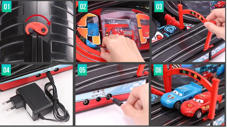 Portable Rennbahn im Koffer Car Cars Racing Auto Rennstrecke Geschenk Kinder Junge Koffer Reifen Spielzeuge & Basteln 2