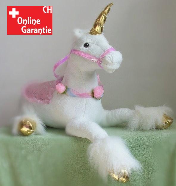 Riesen Einhorn Unicorn Plüsch XXL Plüschtier liegend 110cm 2 Farben Pink Weiss Pferd Horn Geschenk Mädchen Spielzeuge & Basteln