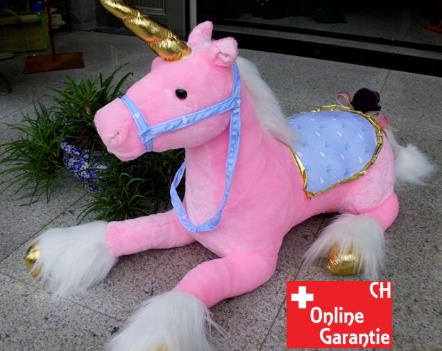 Riesen Einhorn Unicorn Plüsch XXL Plüschtier liegend 110cm 2 Farben Pink Weiss Pferd Horn Geschenk Mädchen Spielzeuge & Basteln 2