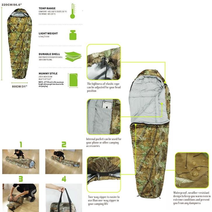 Schlafsack Mumienschlafsack flecktarn Camping Militär -10°C Zelt Neu Jagd Zubehör Mumien Schlaf Sack Camoflage 4 Jahreszeiten geeignet Kleidung & Accessoires 2