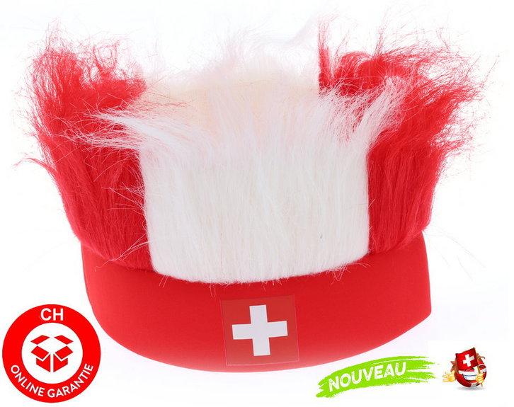 Schweiz Suisse Switzerland Schwiiz Fan Hut Stirnband in Schweizer Farben Flagge / Neu Support Nati Fussball EM Hockey WM Public Viewing Kleidung & Accessoires