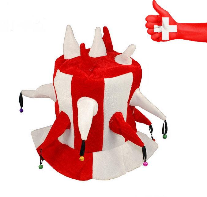 Schweiz WM EM Hut Narr Fan Rot Weiss Mütze Kappe Hopp Schwiiz Schellen Fussball WM EM Hockey Eishockey Hopp Schwiiz Fasnacht Kleidung & Accessoires