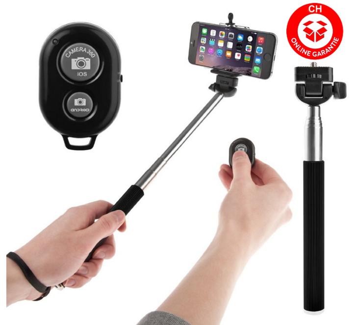 Selfie Selbstauslöser iPhone iOS Android Samsung iPhone LG HTC Sony Smartphone Handstativ Fernbedienung Natel Selfieset Foto & Video