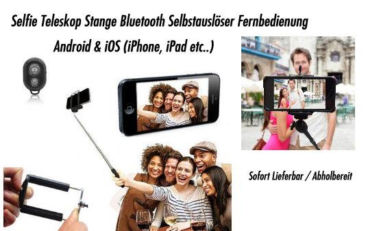 Selfie Selbstauslöser iPhone iOS Android Samsung iPhone LG HTC Sony Smartphone Handstativ Fernbedienung Natel Selfieset Foto & Video 2