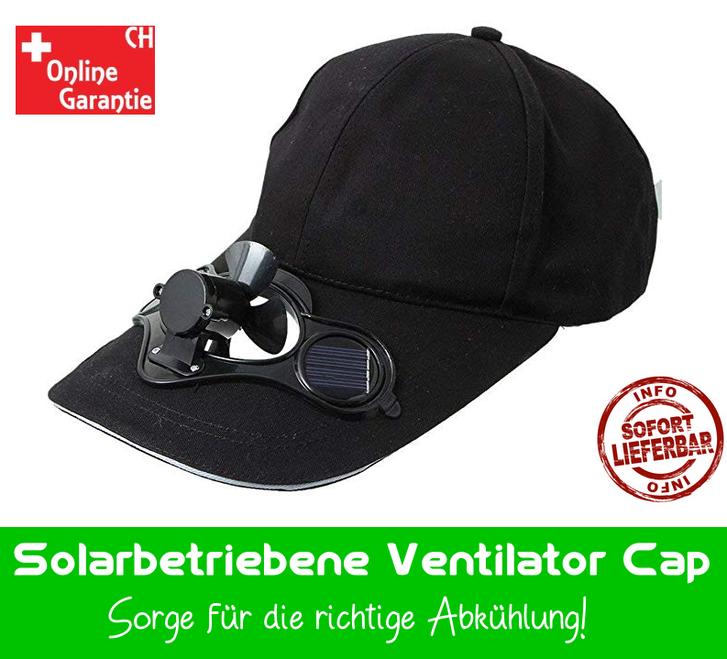 Solar Baseball Cap Mütze Kappe mit integriertem Mini Ventilator Sommer Sonne Gadget Solarkappe Modeaccesoire Solar-Baseball-Cap Sonstige