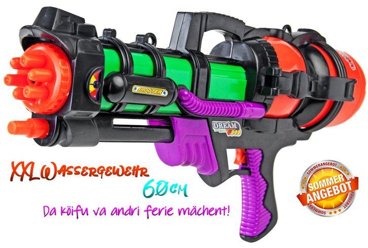 Sommer Wasser Spielzeug Wassergewehr Wasserpistole Spritzpistole XXL 60cm Zuhause Badi Kind Kinder Junge Gross & Klein Schweiz 60cm XXL Version Format Sport & Outdoor