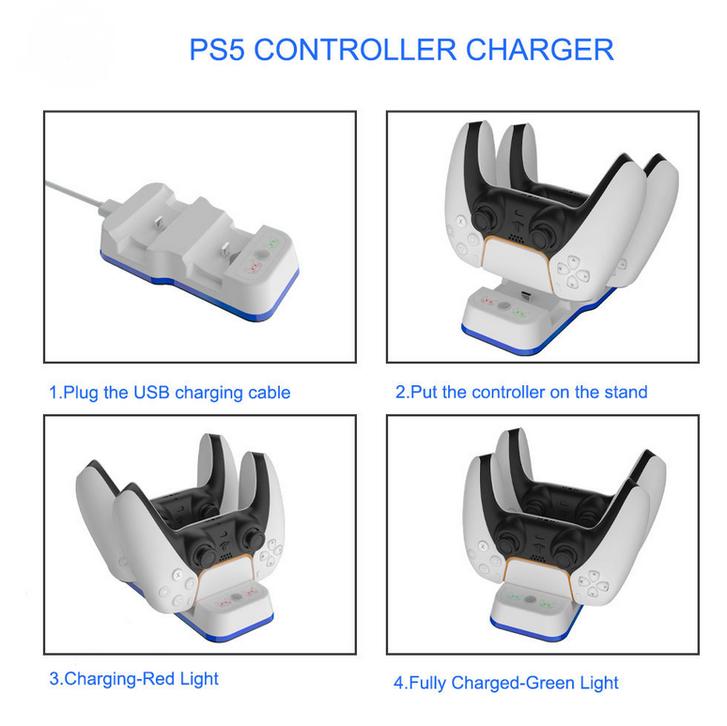 Sony Playstation 5 PS5 Controller DualSense Ladestation Gamepad Charger Zubehör Konsole Sonstige 4