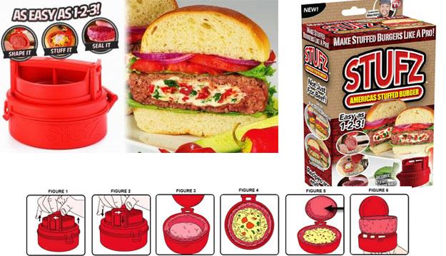 Stufz Gefüllte Hamburger Frikadellen Burger Presse Hamburgerpresse Burgerpresse gefüllt Käse aus den USA Schweiz Haushalt 3