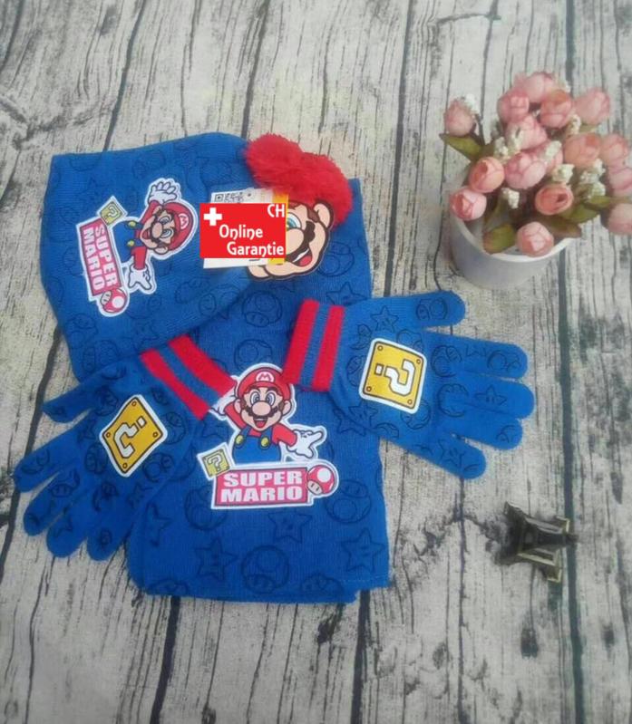 Super Mario Bros. Fan Set 3 tlg Set bestehend aus: Schal, Mütze und Handschuhe Kind Kinder Fan  Baby & Kind