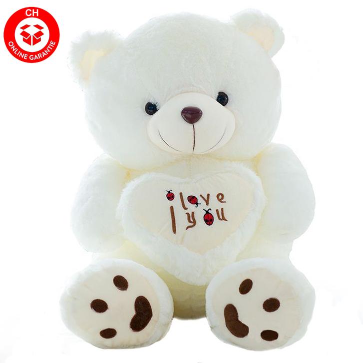 Teddybär Plüsch Bär Teddy Plüschbär Weiss I Love You Herz 1.1m Geschenk Liebe Love ILY Baby & Kind