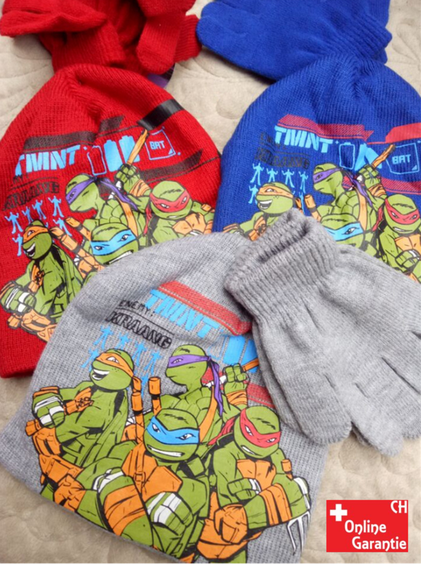 Teenage Mutant Ninja Turtles TMNT Mütze Beanie Cap Kappe und Handschuhe Set  Baby & Kind